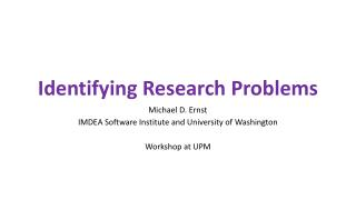 Identifying Research Problems