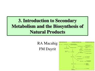 3. Introduction to Secondary Metabolism and the Biosynthesis of Natural Products