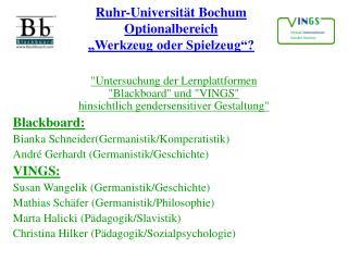 """Ruhr-Universität Bochum Optionalbereich """"Werkzeug oder Spielzeug""""?"""