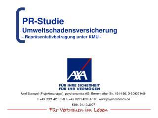 PR-Studie  Umweltschadensversicherung  - Repräsentativbefragung unter KMU -