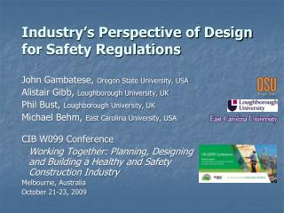 Industry s Perspective of Design for Safety Regulations