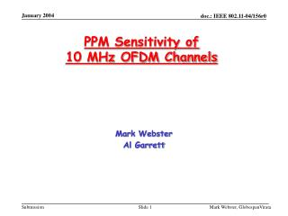 PPM Sensitivity of  10 MHz OFDM Channels