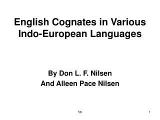 English Cognates in Various Indo-European Languages