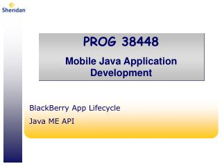 BlackBerry App Lifecycle Java ME API