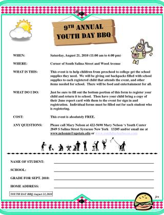 9 th  ANNUAL YOUTH DAY BBQ