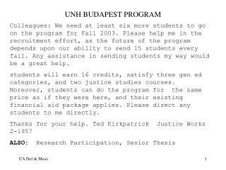 UNH BUDAPEST PROGRAM