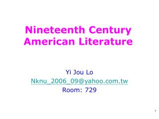 Nineteenth Century American Literature