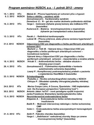 Program semin�rov N�SCH, a.s. - I. polrok 2012 - zmeny