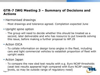 GTR-7 IWG Meeting 3 – Summary of Decisions and Actions