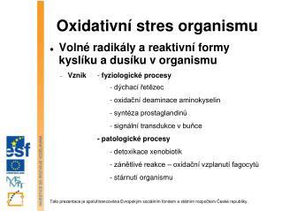 Oxidativní stres organismu