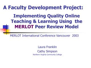 MERLOT International Conference Vancouver  2003