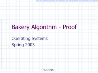 Bakery Algorithm - Proof
