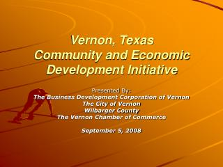 Vernon, Texas Community and Economic Development Initiative
