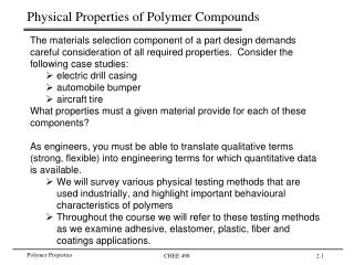 Physical Properties of Polymer Compounds