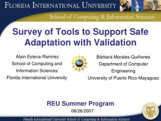 Survey of Tools to Support Safe Adaptation with Validation