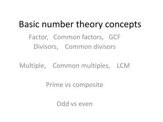 Basic number theory concepts