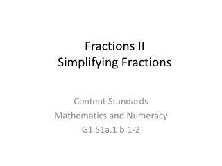 Fractions II Simplifying Fractions
