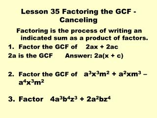 Lesson 35 Factoring the GCF - Canceling