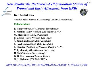 New Relativistic Particle-In-Cell Simulation Studies of Prompt and Early Afterglows from GRBs