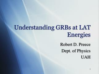 Understanding GRBs at LAT Energies