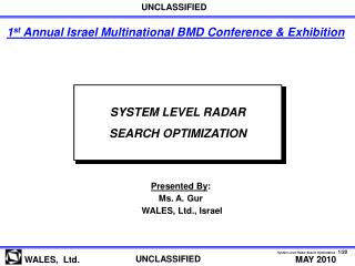 SYSTEM LEVEL RADAR SEARCH OPTIMIZATION