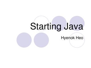 Starting Java