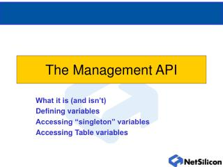 The Management API
