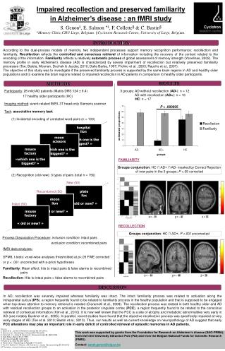 Impaired recollection and preserved familiarity in Alzheimer's disease : an fMRI study