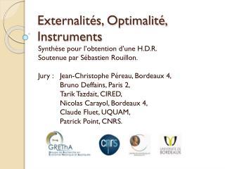 Externalit�s, Optimalit�, Instruments