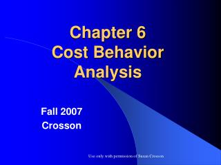 Chapter 6 Cost Behavior Analysis