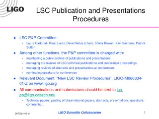 LSC Publication and Presentations Procedures