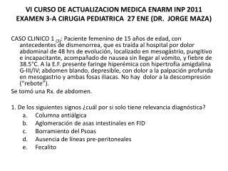 VI CURSO DE ACTUALIZACION MEDICA ENARM INP 2011