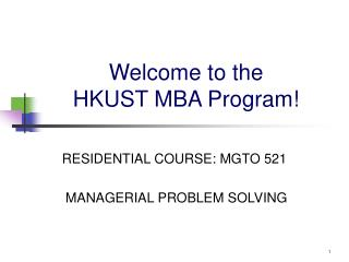 Welcome to the  HKUST MBA Program!
