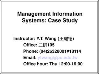 Management Information Systems: Case Study
