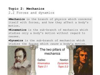 Topic 2: Mechanics 2.2 Forces and dynamics