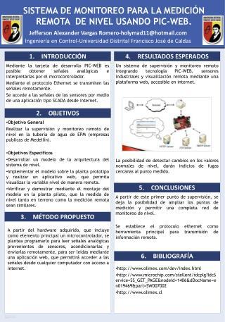 SISTEMA DE MONITOREO PARA LA MEDICIÓN REMOTA   DE NIVEL  USANDO PIC-WEB.