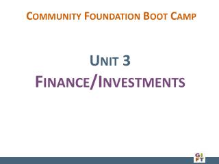 Unit 3 Finance/Investments