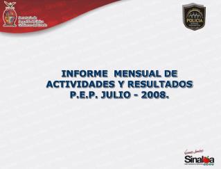 INFORME  MENSUAL DE  ACTIVIDADES Y RESULTADOS P.E.P. JULIO - 2008.