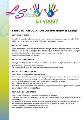 STATUTS - ASSOCIATION LOI  1901 NOMMEE L' Scrap ARTICLE 1 :  FORME