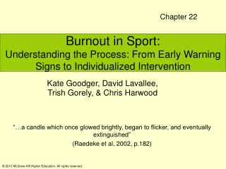 Burnout in Sport:  Understanding the Process: From Early Warning Signs to Individualized Intervention