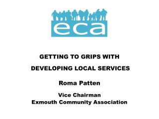 GETTING TO GRIPS WITH  DEVELOPING LOCAL SERVICES Roma Patten Vice Chairman