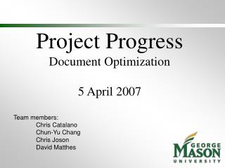 Project Progress Document Optimization 5 April 2007