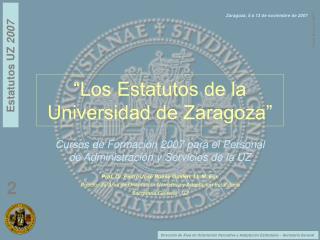 �Los Estatutos de la Universidad de Zaragoza�