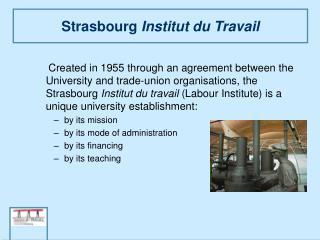 Strasbourg  Institut du Travail