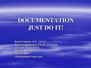 DOCUMENTATION JUST DO IT!