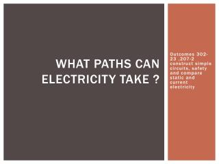 What paths can electricity take ?