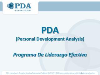 PDA (Personal  Development Analysis ) Programa De Liderazgo Efectivo