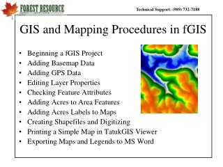 GIS and Mapping Procedures in fGIS