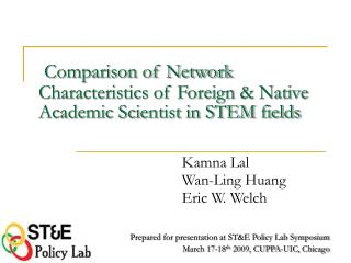 Comparison of Network Characteristics of Foreign & Native Academic Scientist in STEM fields