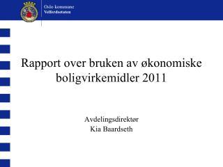 Rapport over bruken av økonomiske boligvirkemidler 2011